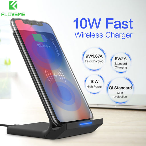 Qi Wireless Charger For iPhone X 8 9 Plus FLOVEME 10W Fast Wireless Charging Dock Stand For Samsung Note 8 9 S8 Plus S7 S6 Edge