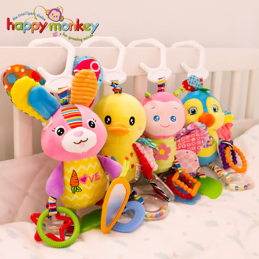 Happy Monkey Baby Plush Stuffed Animal Baby Bed Mobile Toy Bunny Rattle Infant Bed Hanging Toys for Children Kids Christmas Gift