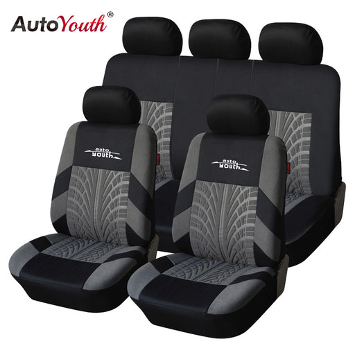AUTOYOUTH Embroidery  Style Car Seat Covers Set, Universal Fit, Most Cars Covers with Tire Track Detail Styling Car Seat Protector