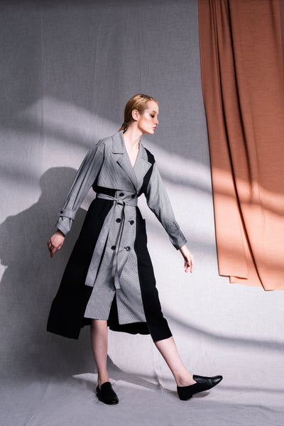 Dalston Trench made from upcycled luxury fabric