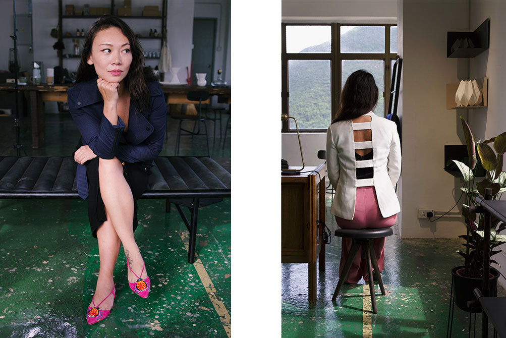 Jing Zhang wears The R Collective upcycled jacket