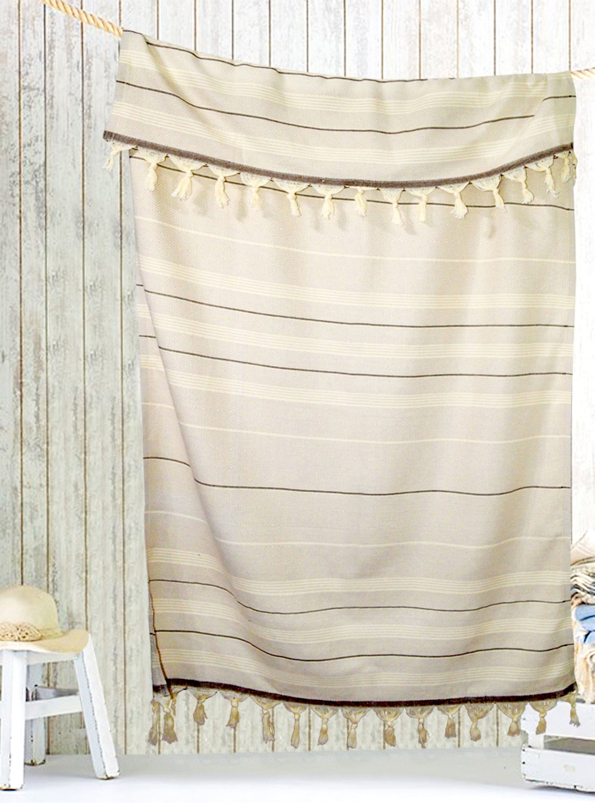 Turkish bath towel Beige/Brown, hand-embroidered, pure cotton, with a hand-knotted fringe at both ends and long stripes pattern.
