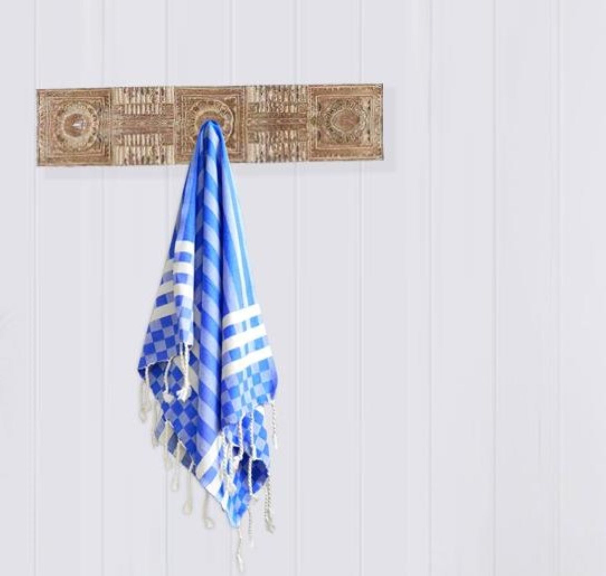 Turkish hand towel Blue, made from cotton, extra folding, loose fringes at both ends with stripes pattern.