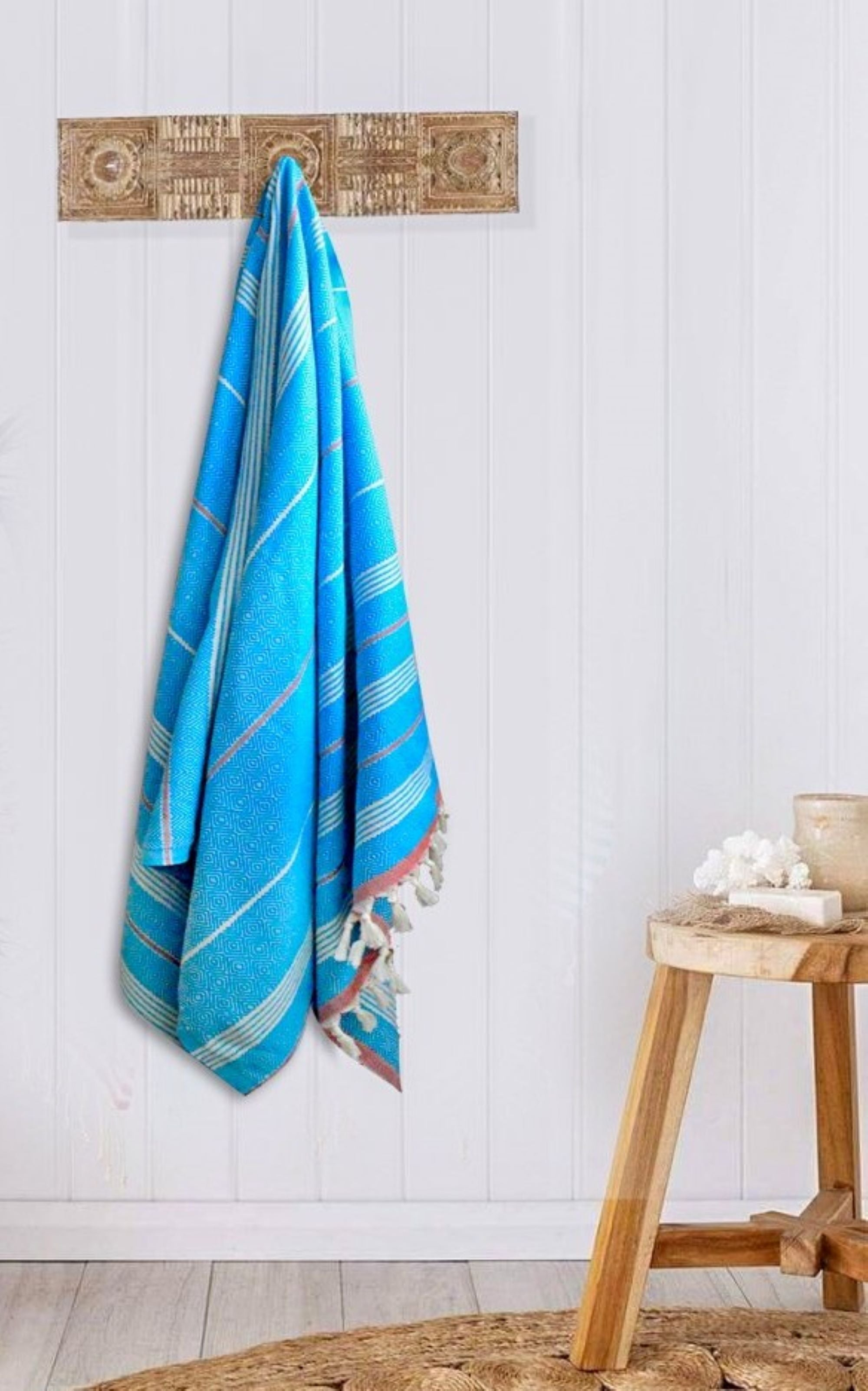 Turkish Bath towel Turquoise/Red , hand-embroidered, pure cotton, with a hand-knotted fringe at both ends and long stripes pattern.