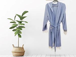 Turkish Towel robe diamond blue made with the finest quality Turkish cotton, super soft, lightweight Turkish towel robes, Perfect for drying off and staying warm, superior absorbency.it is with diamond pattern.