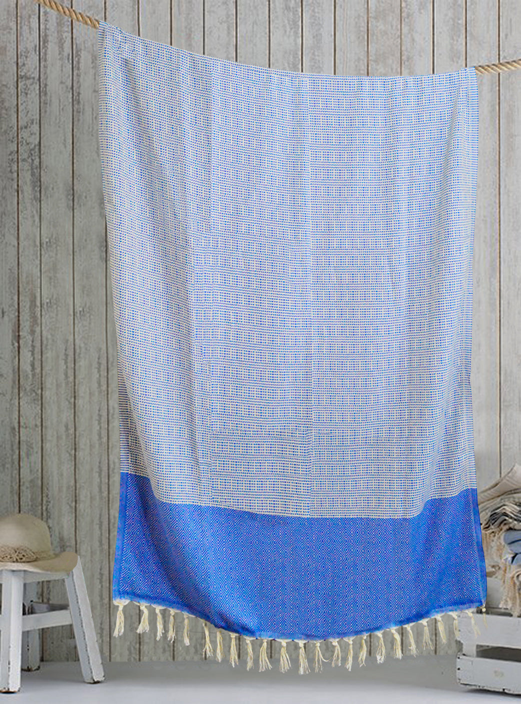 Blue/White Turkish bath towel, pure cotton, lightweight, woven by hand, rhombus design and loose fringes at both ends.