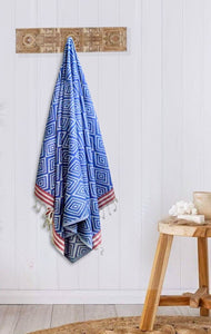 Turkish Bath towel Blue, made from premium cotton, good for bath, beach and gym, rhombus-like design and loose fringes at both ends.