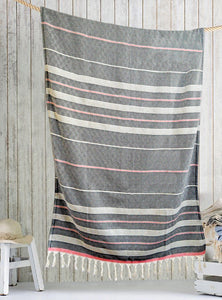 Turkish fouta towel Black/Red , hand-embroidered, pure cotton, with a hand-knotted fringe at both ends and long stripes pattern.