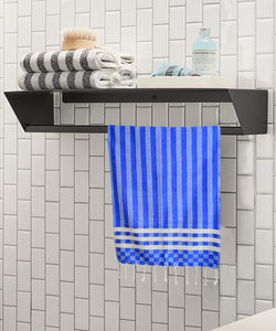 Blue Turkish hand towel, made from cotton, used for cleaning hands, cleaning kitchen, bathing with stripes pattern.
