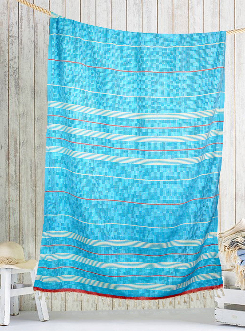 Turquoise/Red Turkish peshtemal towel, hand-embroidered, pure cotton, with a hand-knotted fringe at both ends and long stripes pattern.