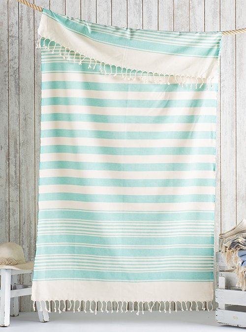 Green/White Turkish bath towel, lightweight, loomed with pure cotton in yarn-dyed stripes and edged with hand-knotted fringes at both ends.