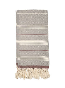 Beige/Brown Turkish bath towel, hand-embroidered, pure cotton, with a hand-knotted fringe at both ends and long stripes pattern.