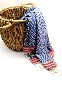 Turkish peshtemal towel Blue, made from premium cotton, good for bath, beach and gym, rhombus-like design and loose fringes at both ends.