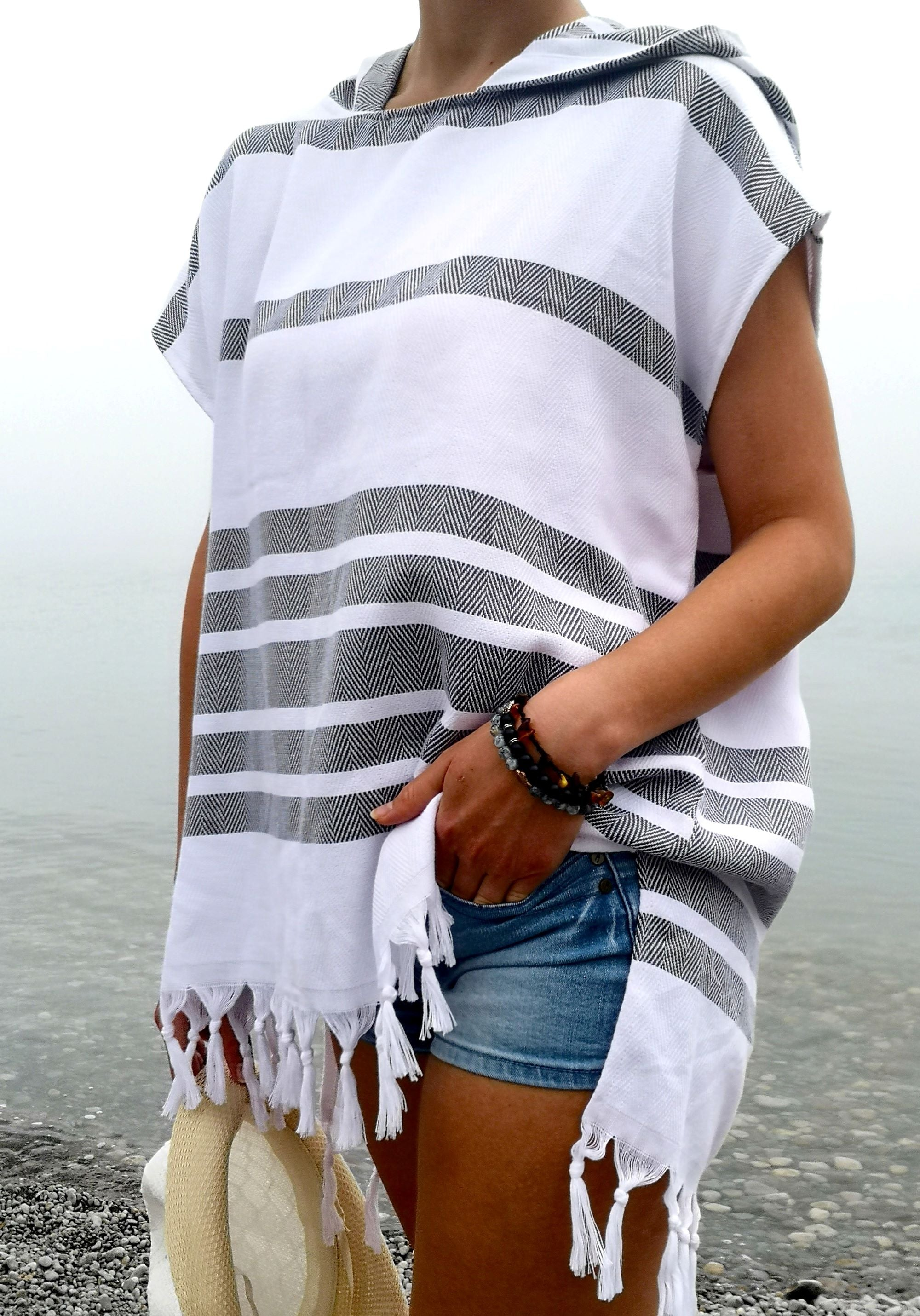 hooded Poncho for women Turkish towel , black/white color, Crafted with finely loomed Turkish Peshtemal cotton, Multipurpose, Lightweight and textured