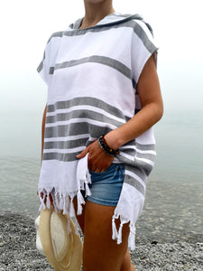 Turkish towel hooded beach Poncho for women, black/white color, Crafted with finely loomed Turkish Peshtemal cotton, Multipurpose, Lightweight and textured