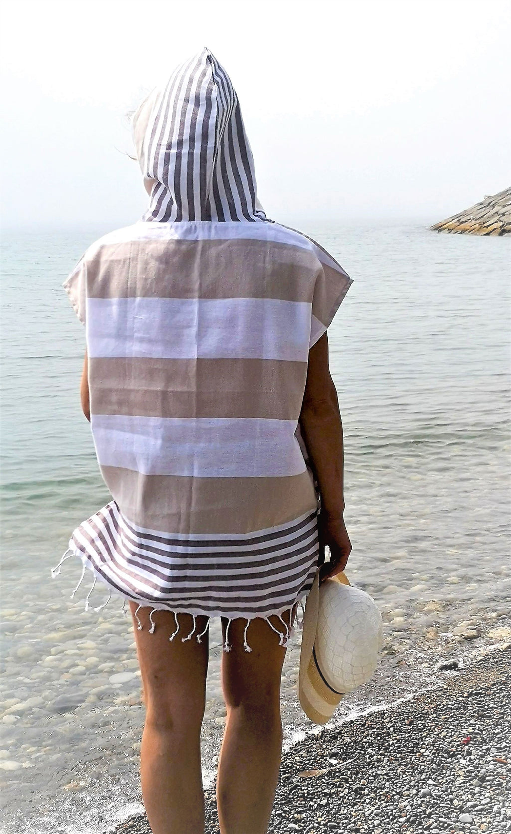 Turkish towel hooded beach Poncho for women, beige color, Crafted with finely loomed Turkish Peshtemal cotton, Multipurpose, Lightweight and textured