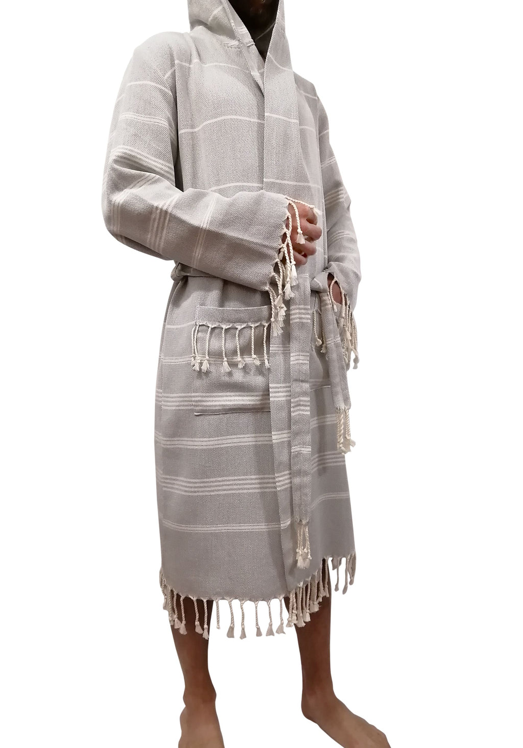 Turkish Towel robe sultan silver made with the finest quality Turkish cotton, super soft, lightweight Turkish towel robes, Perfect for drying off and staying warm, superior absorbency with striped patterns