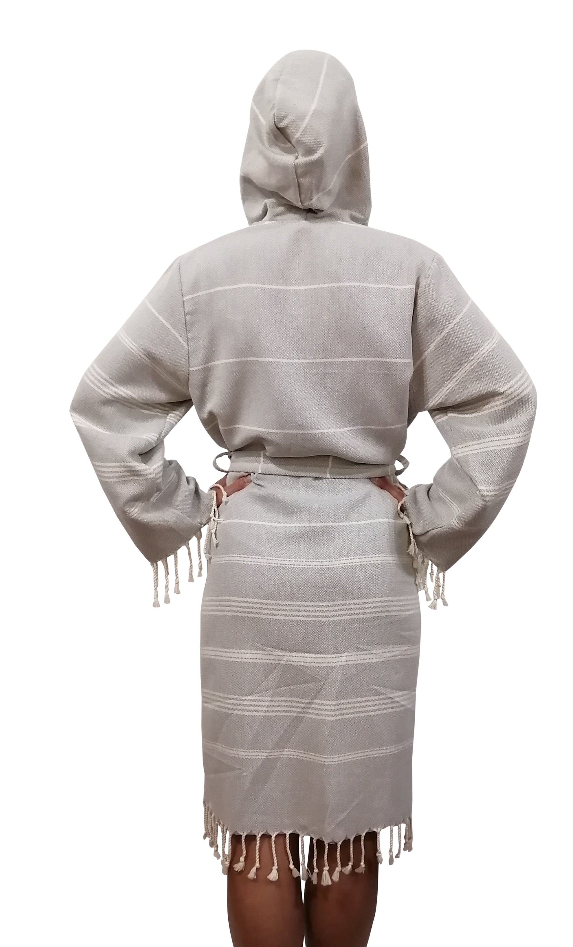 Turkish Hammam robe sultan silver made with the finest quality Turkish cotton, super soft, lightweight Turkish towel robes, Perfect for drying off and staying warm, superior absorbency with striped patterns