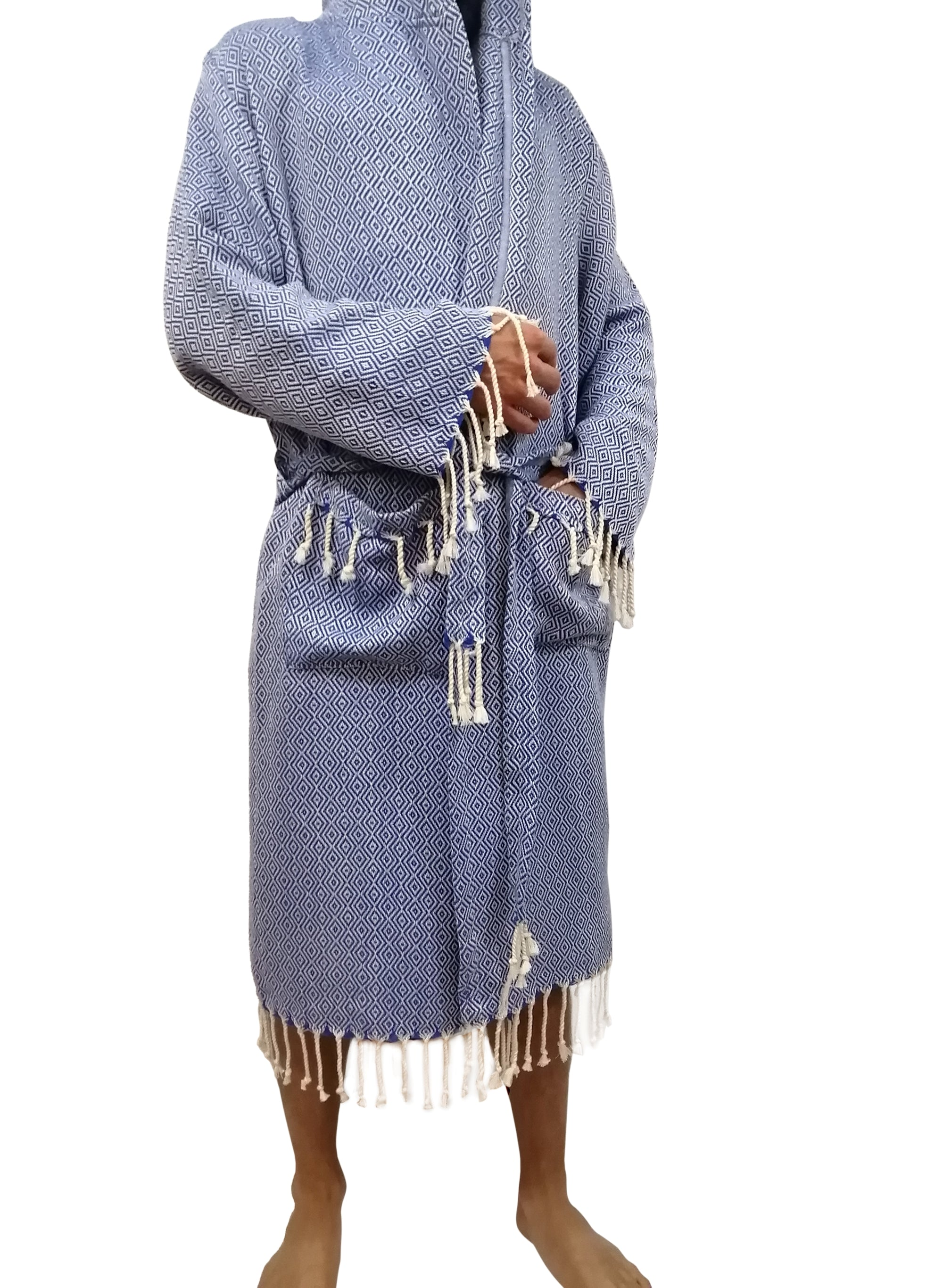 Turkish hammam robe diamond blue made with the finest quality Turkish cotton, super soft, lightweight Turkish towel robes, Perfect for drying off and staying warm, superior absorbency.it is with diamond pattern.