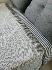 Blanket Throw Turkish cotton towel silver, lightweight, loomed with pure cotton in yarn-dyed chevron design and edged with hand-knotted fringes at both ends.