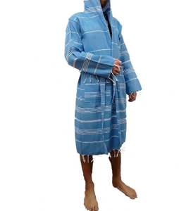 Turkish Towel robe sultan denim blue made with the finest quality Turkish cotton, super soft, lightweight Turkish towel robes, Perfect for drying off and staying warm, superior absorbency with striped patterns
