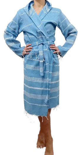Turkish Towel bathrobe denim blue made with the finest quality Turkish cotton, super soft, lightweight Turkish towel robes, Perfect for drying off and staying warm, superior absorbency with striped patterns