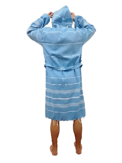 Turkish Hammam bathrobe denim blue made with the finest quality Turkish cotton, super soft, lightweight Turkish towel robes, Perfect for drying off and staying warm, superior absorbency with striped patterns