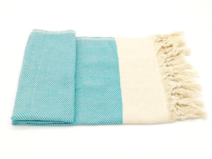 Turkish hand towel turquoise, made from fine cotton, extra folding, loose fringes at both ends with chevron pattern.