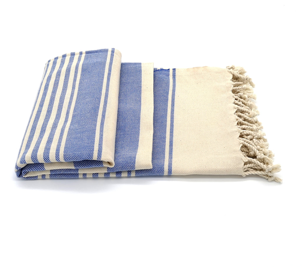Turkish peshtemal towel Blue/White , loomed with pure cotton in yarn-dyed stripes and edged with hand-knotted fringes at both ends.