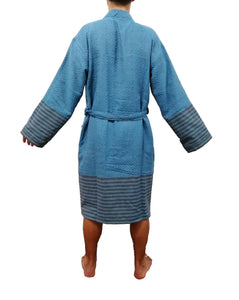 Turkish Towel bathrobe sultan blue made with the finest quality Turkish cotton, super soft, lightweight Turkish towel robes, Perfect for drying off and staying warm, superior absorbency.it is with arrow pattern.