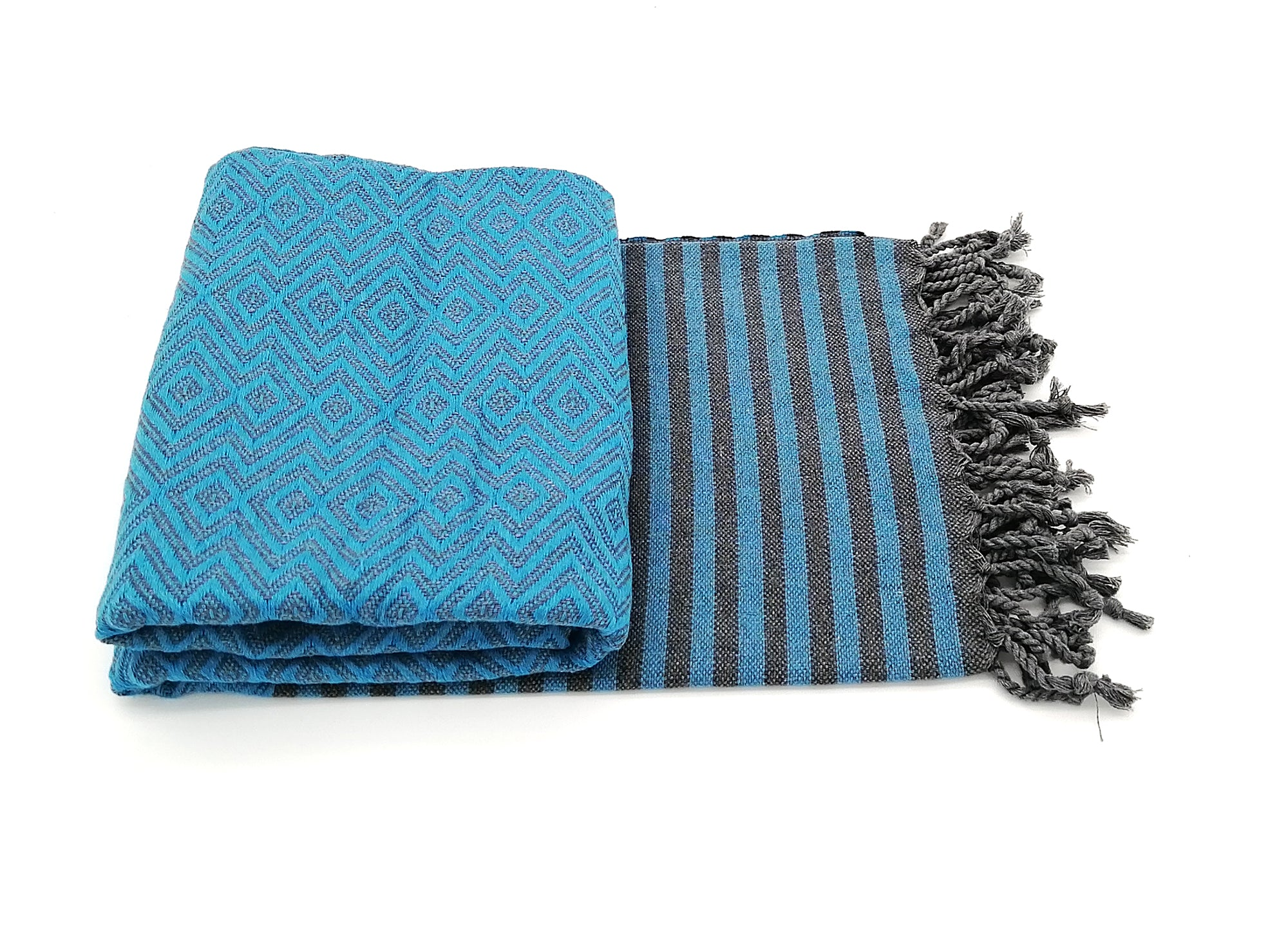 Turkish towel Sultan blue , lightweight, loomed with pure cotton in yarn-dyed stripes and edged with hand-knotted fringes at both ends.