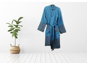 Turkish Towel robe sultan blue made with the finest quality Turkish cotton, super soft, lightweight Turkish towel robes, Perfect for drying off and staying warm, superior absorbency.it is with arrow pattern.