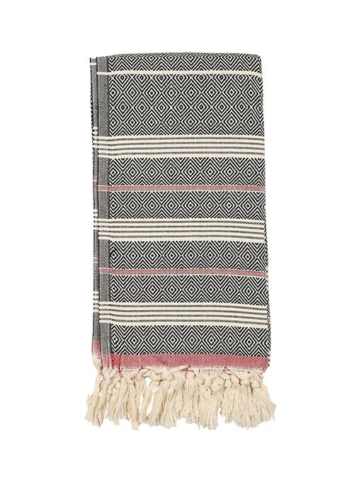 Black/Red Turkish fouta towel, hand-embroidered, pure cotton, with a hand-knotted fringe at both ends and long stripes pattern.