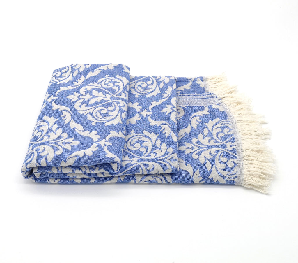 Turkish Bath/Hammam towel Blue/White , lightweight, finely loomed Turkish cotton, jacquard pattern, multipurpose use, and loose fringes at both ends.