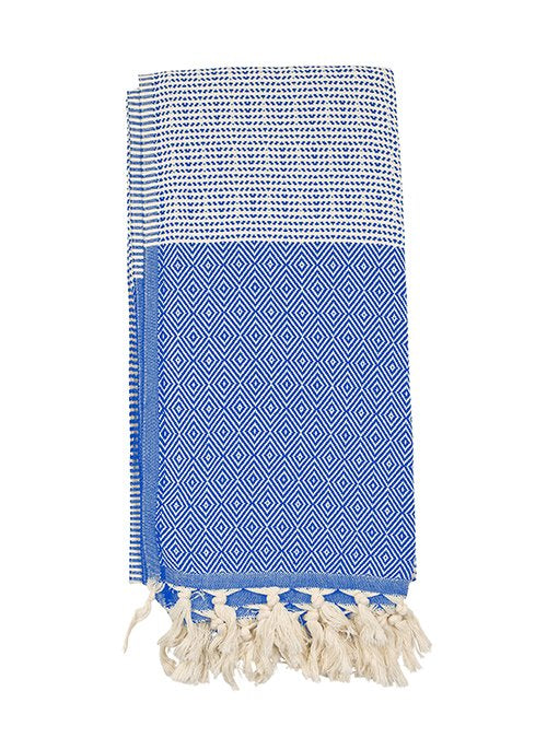 Blue/White Turkish peshtemal towel, pure cotton, lightweight, woven by hand, rhombus design and loose fringes at both ends.