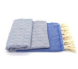 Turkish Bath towel Blue/White , pure cotton, lightweight, woven by hand, rhombus design and loose fringes at both ends.