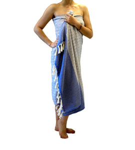Turkish peshtemal towel Blue/White , pure cotton, lightweight, woven by hand, rhombus design and loose fringes at both ends.