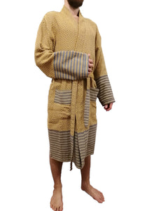 Turkish hammam robe sultan gold made with the finest quality Turkish cotton, super soft, lightweight Turkish towel robes, Perfect for drying off and staying warm, superior absorbency.it is with arrow pattern.