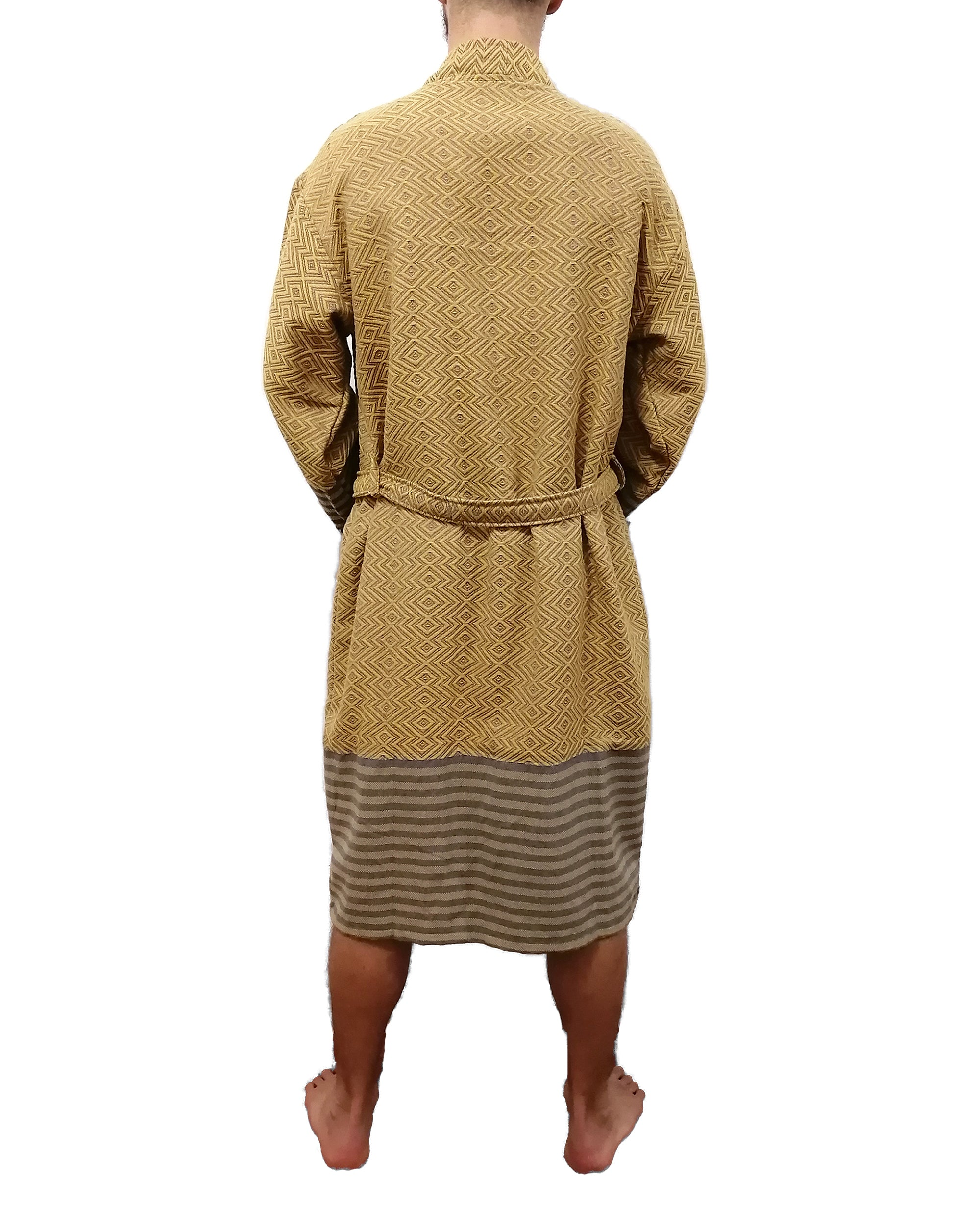Turkish hammam bathrobe sultan gold made with the finest quality Turkish cotton, super soft, lightweight Turkish towel robes, Perfect for drying off and staying warm, superior absorbency.it is with arrow pattern.