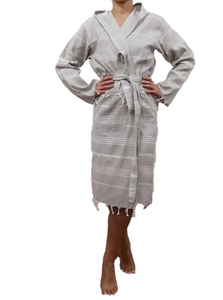 Turkish Peshtemal Hammam robe sultan silver made with the finest quality Turkish cotton, super soft, lightweight Turkish towel robes, Perfect for drying off and staying warm, superior absorbency with striped patterns