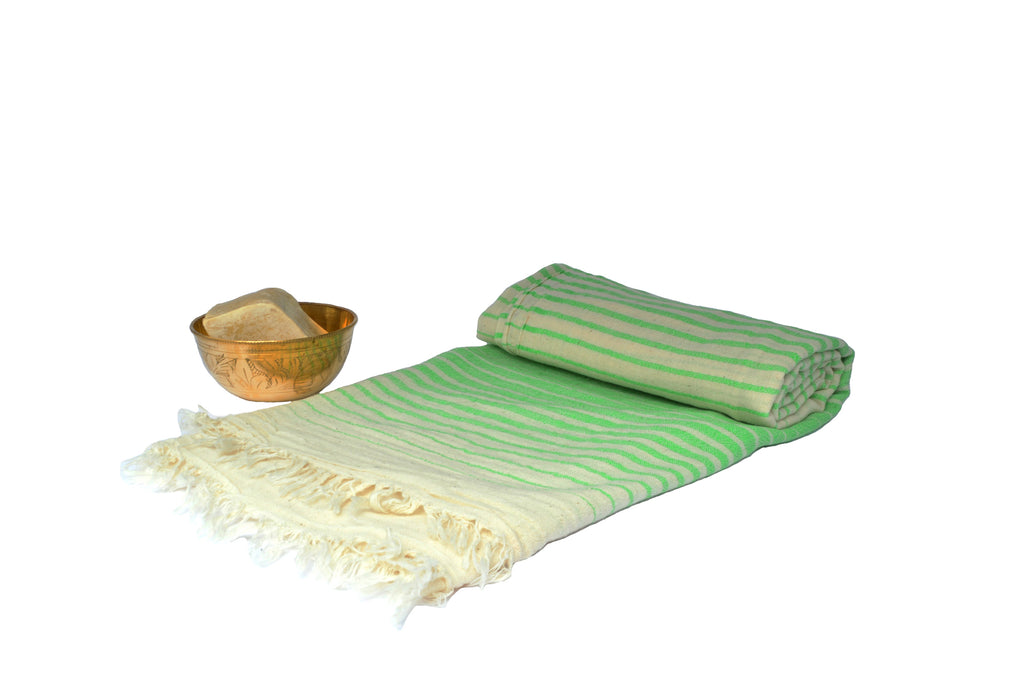 Turkish bath towel Green/White , ultra Lightweight, pure cotton, highly absorbent, quick-drying feature, multiple white stripes on it and is adorned with fringes on both ends.