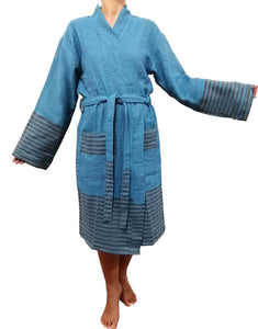 Turkish hammam robe sultan blue made with the finest quality Turkish cotton, super soft, lightweight Turkish towel robes, Perfect for drying off and staying warm, superior absorbency.it is with arrow pattern.