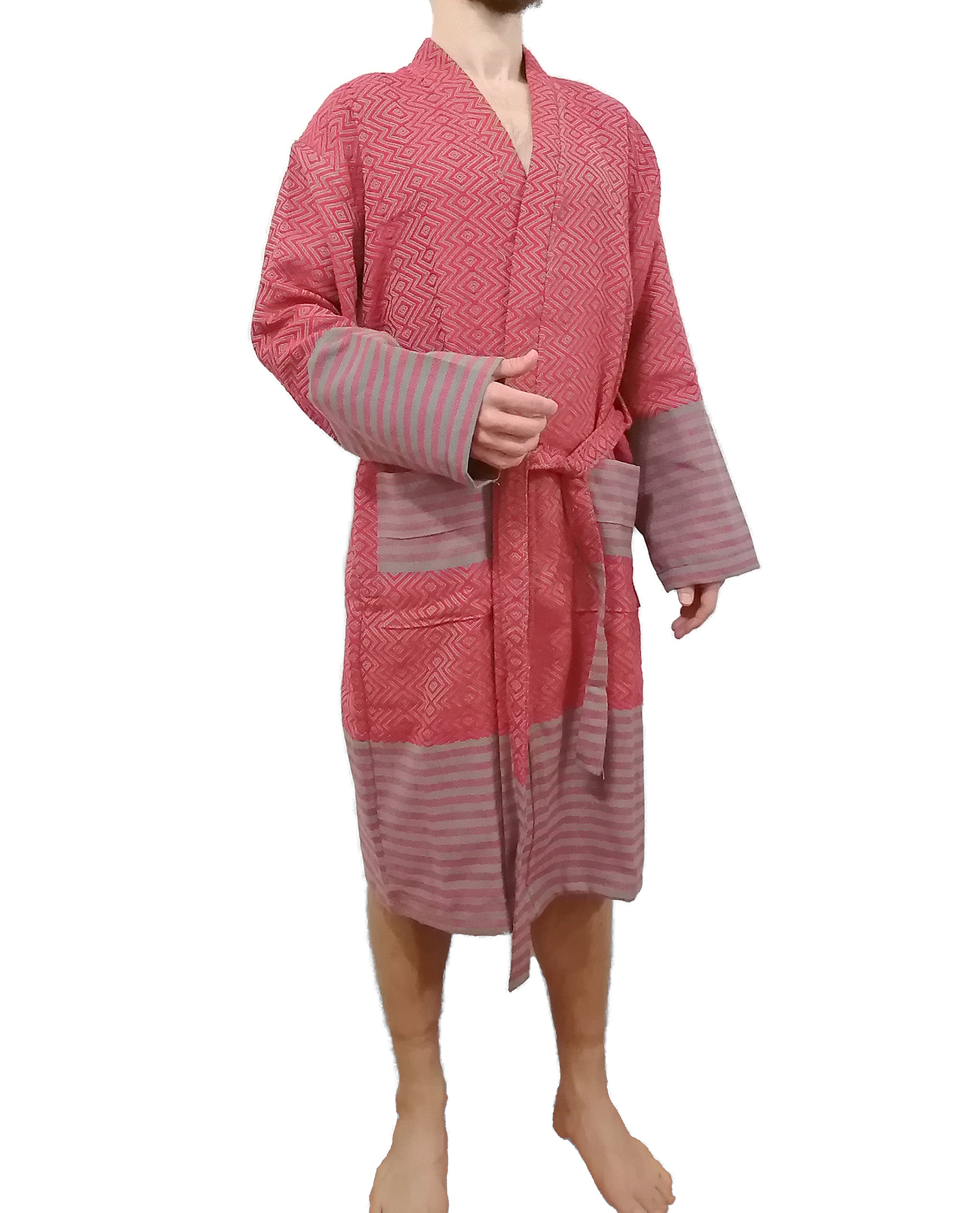 Turkish robe sultan red made with the finest quality Turkish cotton, super soft, lightweight Turkish towel robes, Perfect for drying off and staying warm, superior absorbency.it is with arrow pattern.