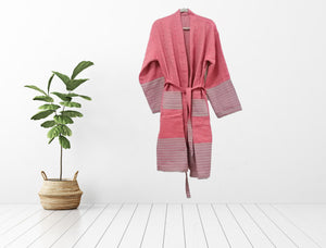 Turkish robe sultan red made with the finest quality Turkish cotton, super soft, lightweight Turkish towel robes, Perfect for drying off and staying warm, superior absorbency.it is with arrow pattern, unisex