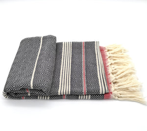 Turkish Bath towel Black/Red , hand-embroidered, pure cotton, with a hand-knotted fringe at both ends and long stripes pattern.