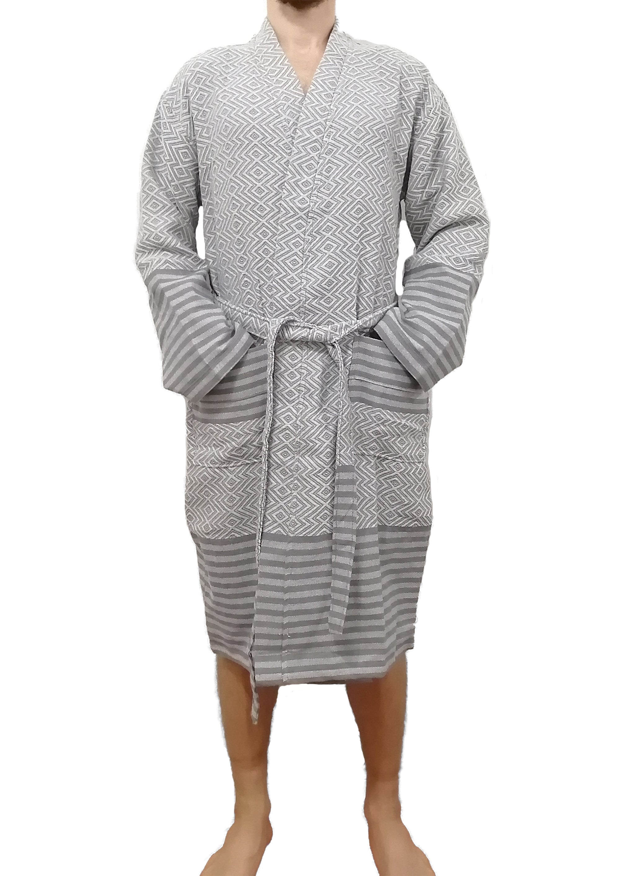 Turkish bathrobe sultan silver made with the finest quality Turkish cotton, super soft, lightweight Turkish towel robes, Perfect for drying off and staying warm, superior absorbency.it is with arrow pattern.