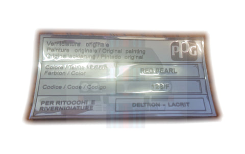 Red Pearl 126/F Colour Code Bonnet Label