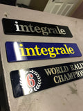 'integrale' Rear Tailgate Boot Badge Blue Yellow Evo