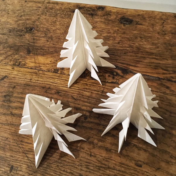 Origami Christmas Tree decorations made from washi paper