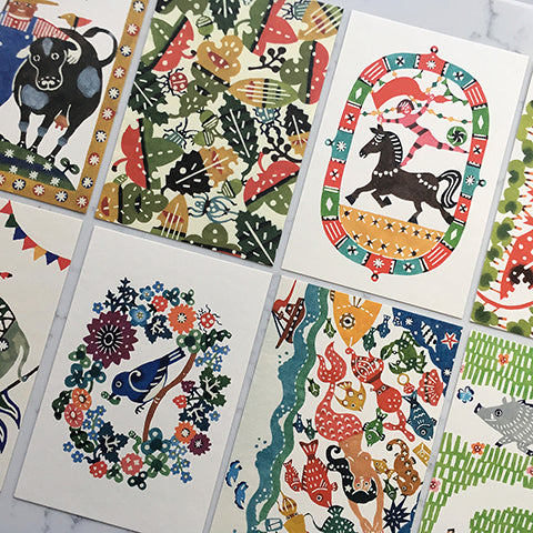 Postcards with kata kata Katazome prints. Japan stationery